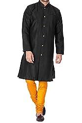 VASTRAMAY Men Silk Cotton Sherwani Style Kurta Set