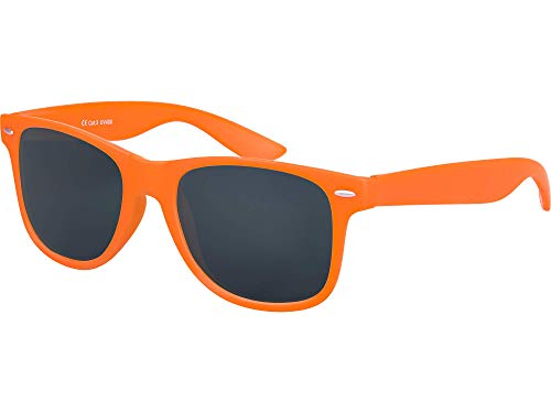 Balinco Hochwertige Nerd Sonnenbrille Rubber im Retro Stil Vintage Unisex Brille mit Federscharnier - 96 verschiedene Farben/Modelle wählbar (Orange - Smoke)