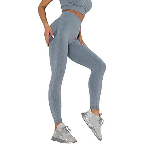 Julhold Pantalones de yoga para mujeres de cintura alta sólida, leggings de gimnasio para mujeres de otoño y verano, deportes de correr mallas, azul, S