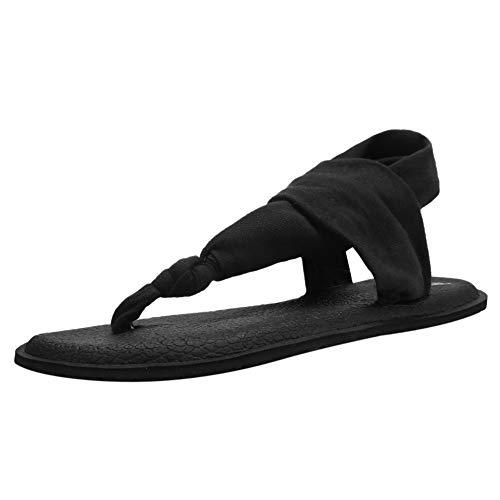 CIOR Women's Yoga Slingback Flip-Flop Sling Thong Sandals Mat Flat Non-Slip Casual Meditation Shoes Casual Slipper for Travelling Beach Pool PartyU120SLT001-T.Balck-39