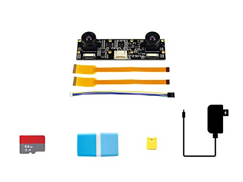Waveshare Jetson Nano Development Pack (Type D) Designed for Evaluating Depth Vision/Stereo Vision Bundle with IMX219-83 Stereo Camera 64GB Micro Card Accessories(5 Items)