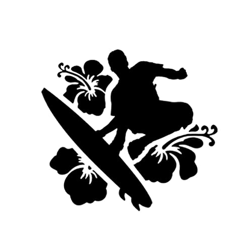 Gbrand 4 Piezas Etiqueta engomada del coche15,1 * 13,9 CM Interesante Surfista Flores Bonita decoración Vinilo Coche Pegatina Negro