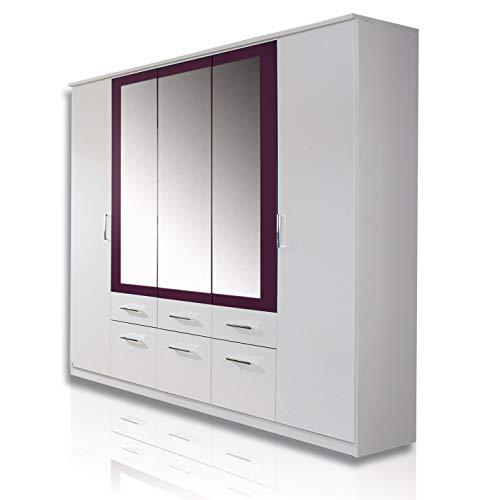 Rauch Möbel Burano Schrank Kleiderschrank Drehtürenschrank, Weiß / Brombeer, 5-türig mit Spiegel und 6 Schubladen, BxHxT 226x212x56 cm