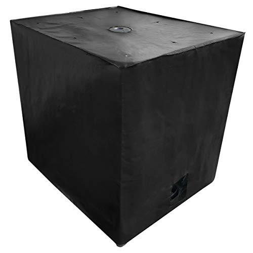 REKUBIK IBC Cover UV-Schutz Gewebe mit Klettverschluss in Schwarz Tankgröße 1000l IBC (120x100x116cm)
