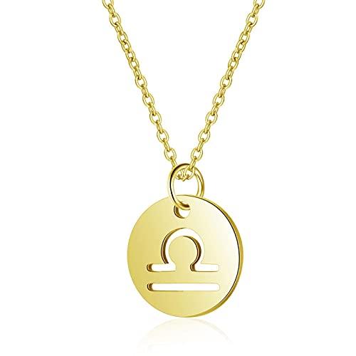 12 Collares Con Colgante De Constelación Para Mujer, Collar De Cadena De Clavícula Con Signo Del Zodiaco De Moneda Redonda 05