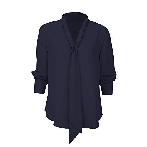 NPRADLA Damen Bluse Elegant Chiffon V-Ausschnitt Langarm Casual Oberteil Lose Langarmshirt V-Ausschnitt Vintage Tunika Hemd T-Shirt
