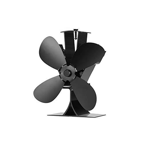 Värmedriven spisfläkt 4 blad med magnetisk termometer Aluminium tyst miljövänlig för vedbrännare spisar fläkt