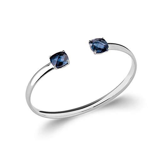 Tata Gisèle © Pulsera rígida abierta Annabella de plata 925/000 rodiada y piedra sintética – azul zafiro – Bolsa regalo de terciopelo