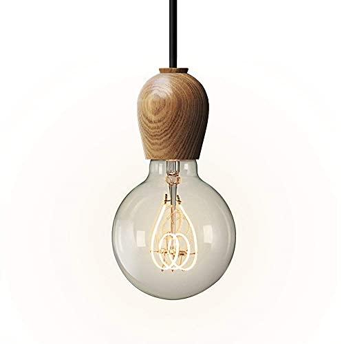 HTL Lampadario a Sospensione a Sospensione Illuminazione Lampadario, Apparecchio Singolo Testa Lampadario in Legno Nordico Ristorante Creativo Ristorante a Soffitto Regolabile Lampada a Sospensione,