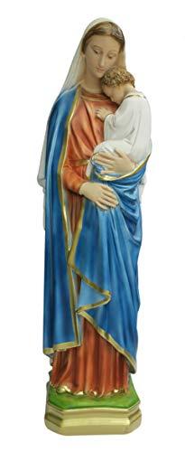 Ferrari & Arrighetti Imagen de la Virgen María con Niño Jesús de Yeso Pintada a Mano - 60 cm