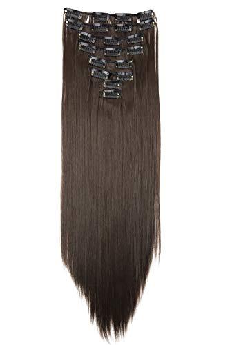 PRETTYSHOP XXL 50cm 8 Teile Set CLIP IN EXTENSIONS Haarverlängerung Haarteil Glatt Brünett CES104