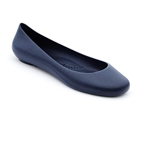 OKABASHI Women's Georgia Soft Jelly Ballet Flats (Blue, 11)   Daily Slip-On Shoes w/Arch Support   Helps Relieve Foot Soreness & Pain