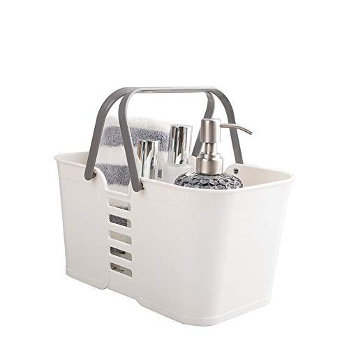 Plastic Storage Baskets with Handles, UUJOLY Storage Bin Shower Caddy Organizer for Bathroom and kitchen, White