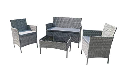 Home Essential 4 Pieces Rattan Garden Furniture Set (Grey)