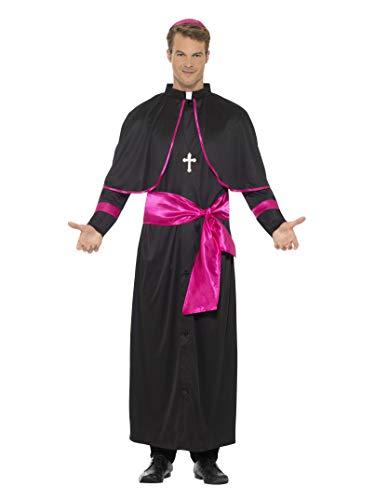 "Smiffys-44691m Disfraz de Cardenal, con hbito, Cintur¢n figurado, Gorro y Collar con CR, Color Negro, M-Tamaño 38""-40"" (Smiffy"