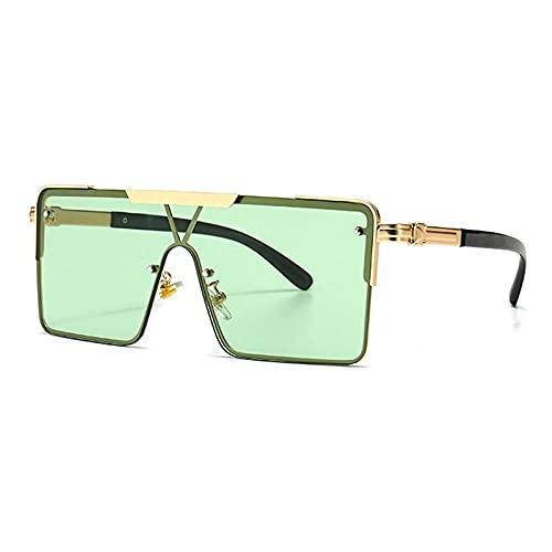 HAIGAFEW Gafas De Sol Cuadradas De Metal Unisex Gafas De Sol Graduadas Marrones De Una Pieza Tonos Extragrandes Únicos Proteger Los Ojos-Verde