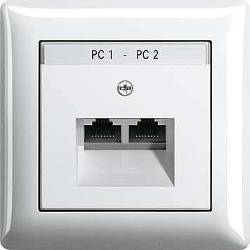 GIRA 2fach Netzwerk-Anschlussdose + 1 fach Rahmen & Abdeckung mit Beschriftungsfeld reinweiß glänzend