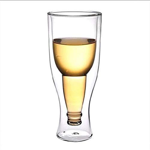Decantador de Vino Cristal 2 Piezas De Cristalería Gafas De Cerveza Tazas Con Vidrio De Cerveza De Doble Pared Con Aislamiento Regalo Al Revés Bebida Invertida Para Bodas Partes Barbacoas Y Picnics De