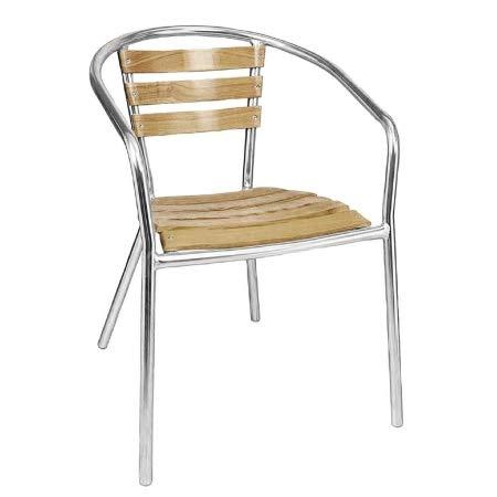 Bolero Bistrostühle mit Armlehne Eschenholz | 4 Stück im Set | Sitzhöhe: 45cm | 73 x 55,5 x 53cm