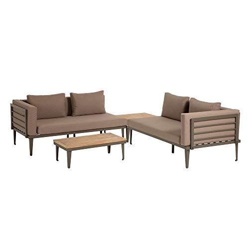 Kave Home - Set de sofá Viridis con Dos sofás de 2 plazas, Mesa Auxiliar 90 x 50 cm y Mesa de Centro 90 x 90 cm de Cojines Marrones, alumino y Madera Maciza de Acacia para Interior y Exterior