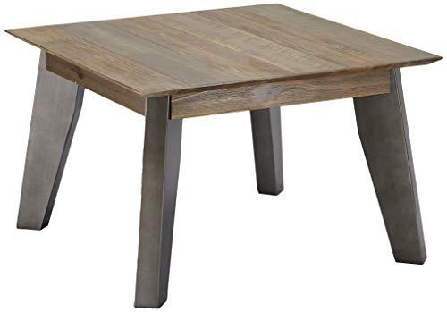Ibbe Design salontafel vierkant bijzettafel natuur massief acaciahout bruin gelakt tafel Malaga, L70XB70xH45 cm