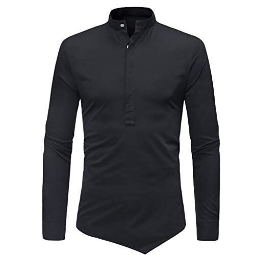 manadlian Chemise Homme Chemises Business Lin Tops à Manches Longues Col V Tops pour Hommes T-Shirt avec Bouton Casual Blouse Pullover de Sports Grande Taille