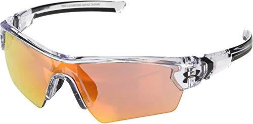Under Armour Kids' Menace Wrap Sunglasses Shield, GLOSS CLEAR/UA TUNED BASEBALL WITH ORANGE, 122 mm
