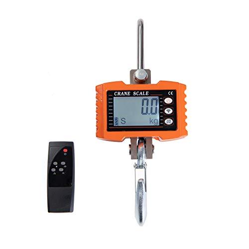 Beslands Báscula Gancho 1000KG-2000lb-1T, Báscula de grúa LED Inteligente digital, Escala de Grúa Industrial