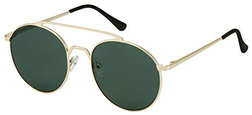 La Optica B.L.M. UV400 CAT 3 - Occhiali da sole unisex con doppia barra dorata e panno per la pulizia Colori oro (lenti: verde classico). M