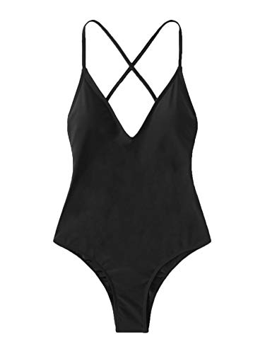 SOLY HUX Women's Plunge Neck Cross Back Ruched Detail One Piece Monokini Swimsuit Black M