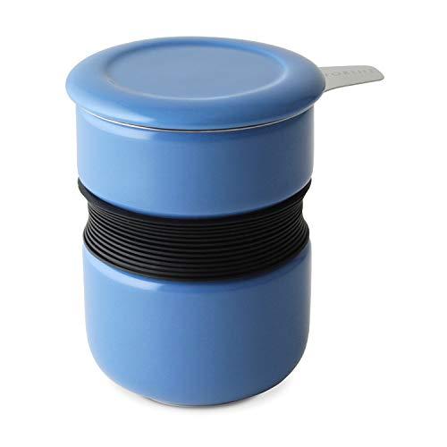 FORLIFE Curve Teetasse mit Teesieb und Deckel, 340 ml, Blau