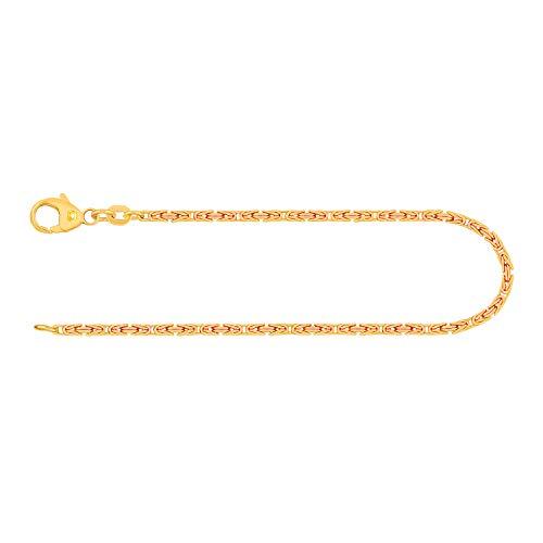 Pulsera para hombre de oro real de 1.8 mm, pulsera cadena del rey oro amarillo 14 k 585, pulsera de oro con sello, con cierre de langosta, long. 19 cm, p. 4,7 g, Hecho en Alemania