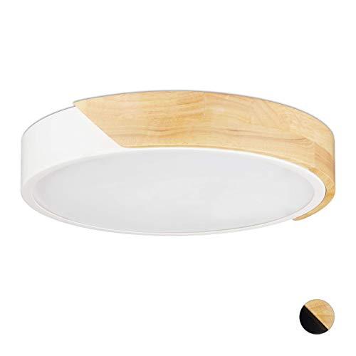 Relaxdays Lámpara de Techo, 18W, LED, Foco Redondo, Blanco, Metal y Madera, 5 x 30 cm, M
