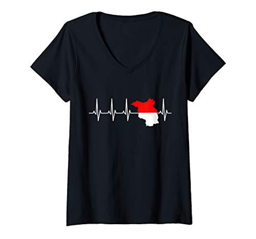 Damen Brandenburg Flagge EKG Herzschlag für Brandenburger T-Shirt mit V-Ausschnitt