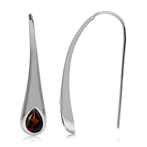 Silvershake 1.54ct. Natural Garnet White Gold Plated 925 Sterling Silver Modern Style Hook Earrings