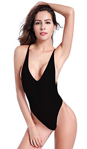 SHEKINI Damen Einteilige Badeanzug Badeanzügen Bikini Bademode Sportlich String Tanga Hoher Schnitt Rückenfrei Brasilien Monokini Einteiliger Strandbikini (X-Small,Schwarz)