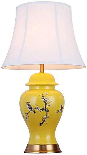 KEYREN Lámparas de Mesa para salón lámpara de Mesa de cerámica, lámpara de Mesa de cerámica Creativa Moderna, Sala de Estar de Sala de Estar lámpara de Escritorio Amarillo