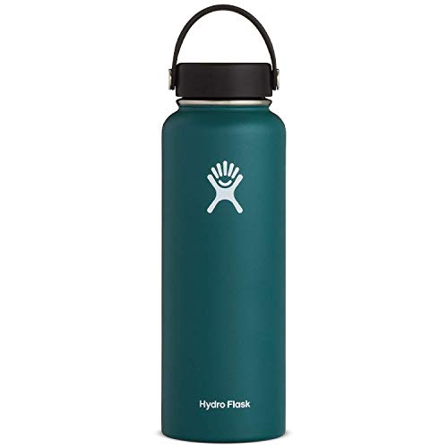 Hydro Flask Water Bottle - Stainless Steel & Vacuum Insulated - Wide Mouth 1.0 with Leak Proof Flex Cap - 40 oz, Jade