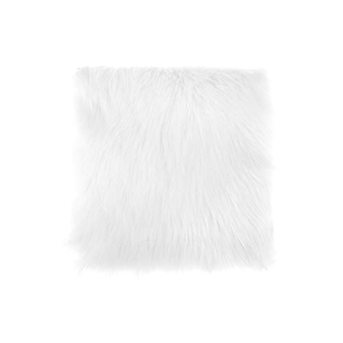 Faux Sheepskin Chair Cover 3 Colors Warm Hairy Wool Carpet Seat Pad Long Skin Fur Plain Fluffy Area Rugs Washable,Wt,40Cm X 40Cm