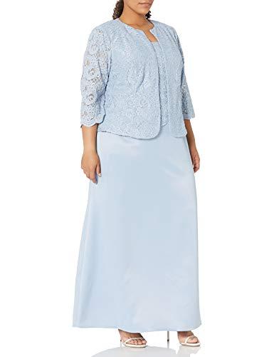 Alex Evenings Women's Plus Size Long A-Line Mock Dress with Jacket, Hydrangea, 20W