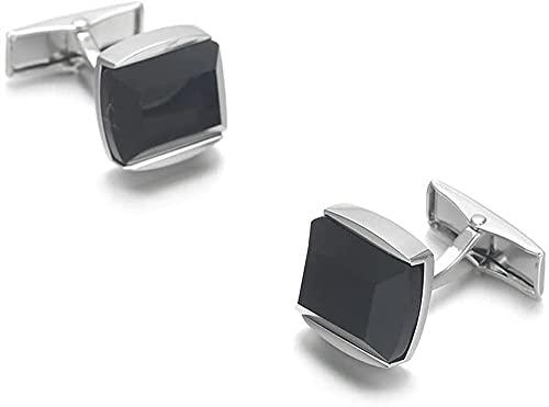 ALOMIN 2 gemelos elegantes de personalidad negra para hombre, botón de la camisa de la moda, joyería de boda para botones del novio (color negro)