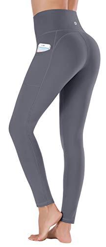 Ewedoos Women's Yoga Pants with Pockets - Leggings with Pockets, High Waist Tummy Control Non See-Through Workout Pants (EW320 Gray, Medium)