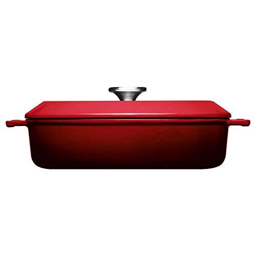 Woll Iron Gusskasserolle mit Deckel, viereckig, Ø 28 cm, 7 cm hoch, 3,7 Liter + Silikongriffen Chili Red