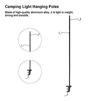 HAOX Support de Lanterne de Camping, Crochets Doubles symétriques hauteurs réglables en Alliage d'aluminium poteaux Suspendus légers de Camping Portable pour pêche pour Les activités de Plein