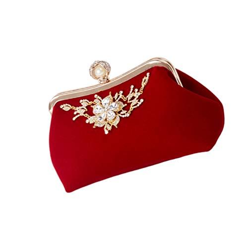 VALICLUD Mujeres Embragues Perlas Bolso de Noche Embrague Monedero Bolsos Banquete Fiesta Bolso con Diamantes de Imitación para Mujer Rojo