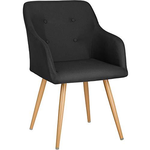 TecTake 403195 - Chaise de Salle à Manger Confort, Fauteuil de Salon Rembourré au Design Scandinave 55 cm x 54 cm x 82,5 cm, Noir