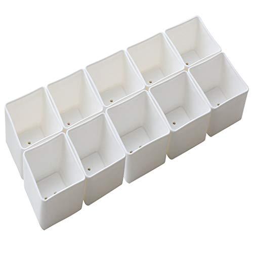 MA87 - Macetas de plástico para jardinería de interiores (10 unidades), blanco, medium
