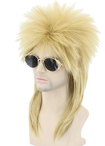 Lemarnia Men or Women Wigs 80s Mullet Wig Dirty Blonde Halloween Costume Fashion Wigs Fancy Party Clothes Accessory Wig