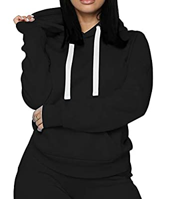FAIRYLOVE Women's Casual Two Piece Outfits - Long Sleeve Pullover Hoodie Casual Velet Warm Workout Suits