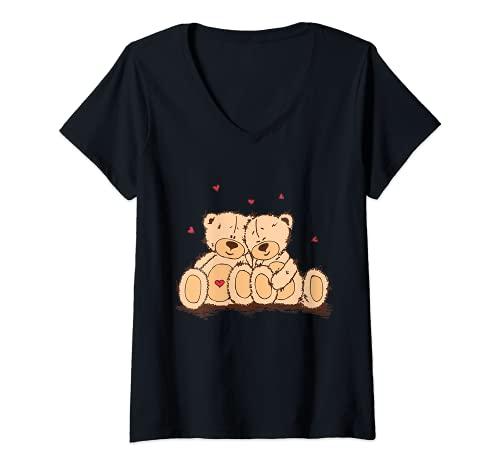 Mujer Lindo ositos de peluche adorablemente enamorados   Día de San Valentín Camiseta Cuello V